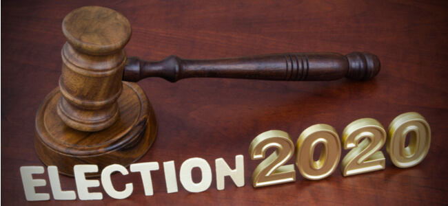 Wooden judge gavel, letters election and numbers 2020